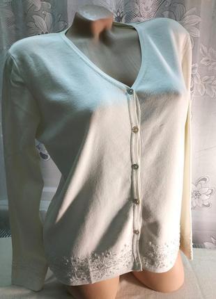 Нарядная кофта кардиган белая с вышивкой бисером большой размер wallis