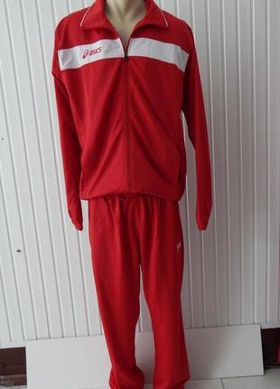 Спортивный красный мужской  костюм asics