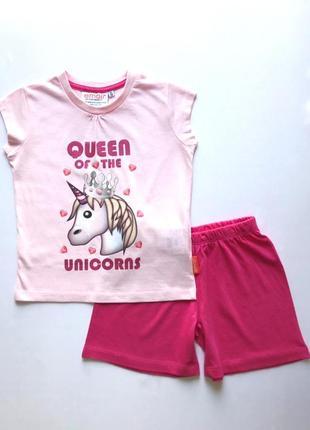 Детская летняя коттоновая трикотажная пижама для девочки, unicorn, 2-3, 6-7 лет.