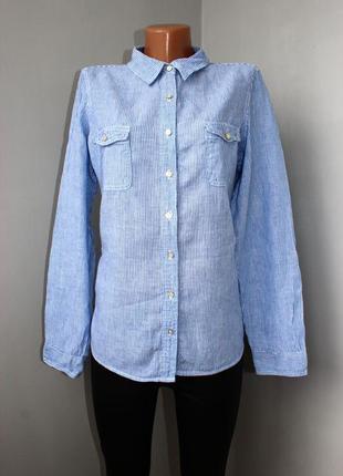 Рубашка по типу бойфренд в тонкую вертикальную полоску /натуральная, m&s, uk, 16