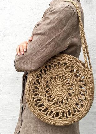 Плетеная большая круглая сумка, эко сумка  из джута