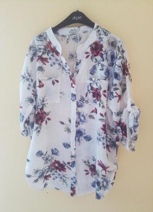 Батальная блуза рубашка батал из льна льняная лён большой размер