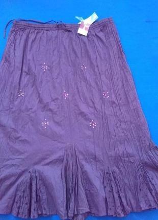 Летняя котоновая юбка в стиле бохо размер 18