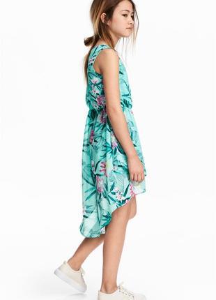 H&m ассиметричное яркое летнее платье на девочку 13-14 лет, р.164 см