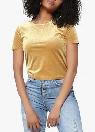 Велюровый укороченный бархатный жёлтый кроп топ майка футболка pimkie