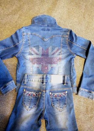 Джинсовий костюм для дівчинки2 фото