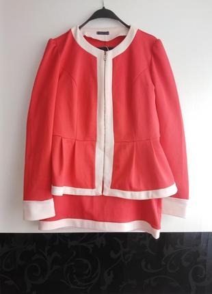 Костюм с баской пиджак/юбка 52 размер! 👍