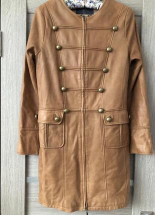 Очень стильный тренч/плащ/пальто из натуральной лайковой кожи