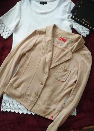 Жакет пиджак бежевый кофта на пуговицах джемпер