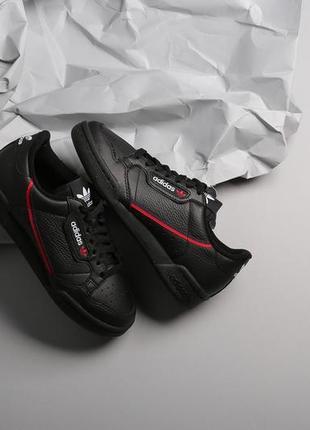 Эксклюзивные черные кожаные кроссовки adidas originals continental 80, кеды adidas унисекс