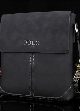 Мужская сумка мессенджер, барсетка через плечо v8827 черная