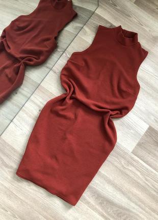 Платье морковного цвета
