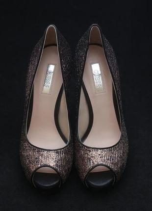 Туфли с открытым носком guess, бронзового цвета1 фото