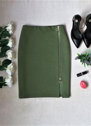 🌿 шикарная юбка карандаш с замком спереди, цвет хаки