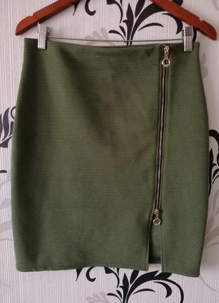 🌿 шикарная юбка карандаш с замком спереди, цвет хаки2 фото