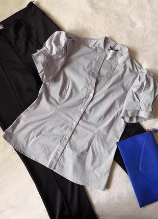 Стильная рубашка в полоску с короткими объёмными рукавами