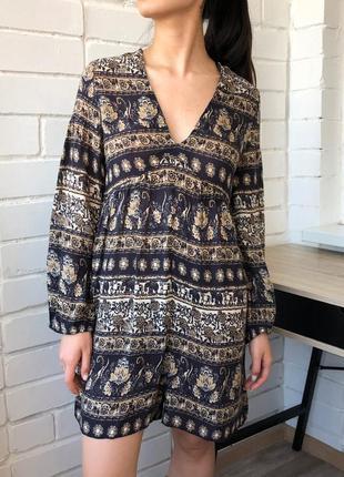 Этно бохо летнее легкое платье ромпер с принтом слонов zara m