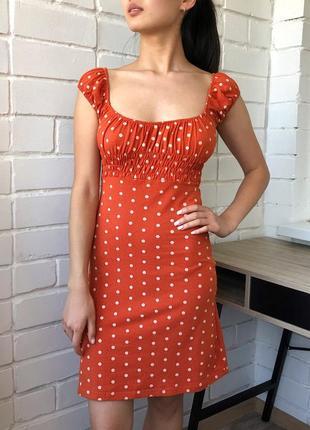 Актуальное оранжевое летнее коттон платье в горох на резинке ретро винтаж хс с