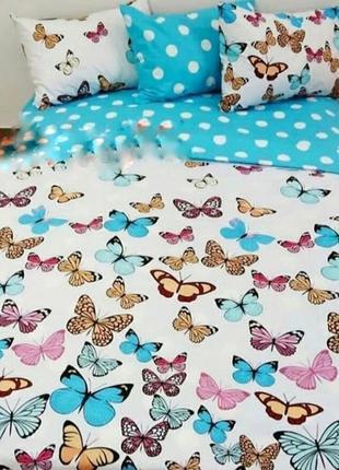 """Двухспальный комплект постельного белья из бязи голд  """"бабочки"""""""
