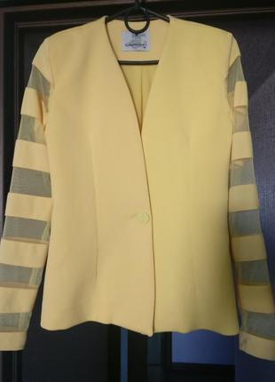 Шикарный пиджак с прозрачными вставками на рукавах
