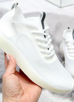 Белые летние женские кроссовки сетка на силиконовой подошве в наличии