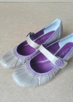 Туфли bellissima кожаные бежевые на липучках
