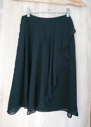 Нежная черная шифоновая юбочка