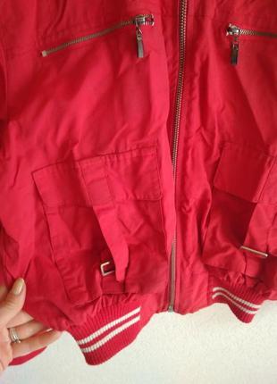 Красная женская и подростковая короткая курточка для повседневного ношения