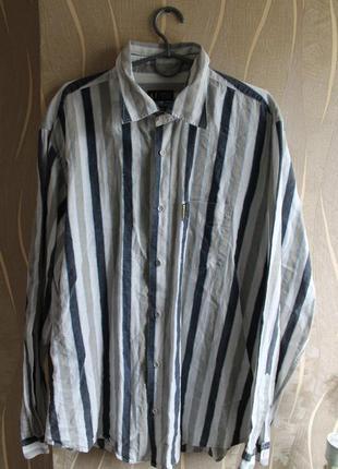 Безподобная в полоски из натуральной ткани мужская рубашка armani италия
