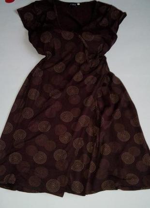 Платье миди 48 50 размер бюстье коричневое принт топ скидка распродажа sale