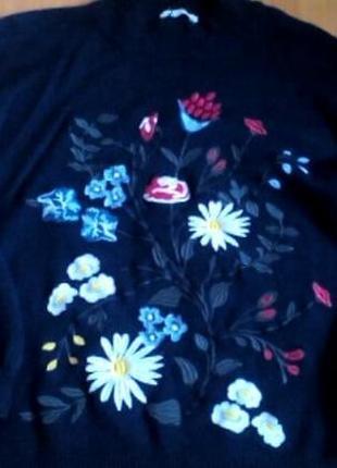 Крутой свитер с вышивкой zara