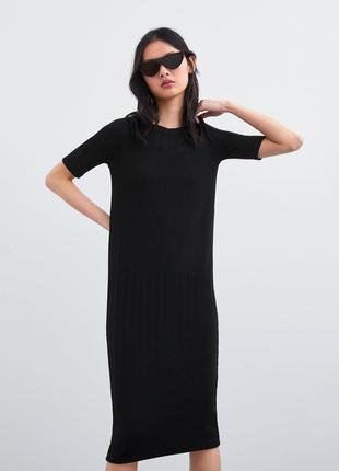 867856b3eb25c74 Базовое трикотажное чёрное платье zara ZARA, цена - 500 грн ...