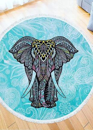 Пляжное полотенце коврик плед мандала слон