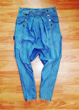 Легкие летние необычные неформатные брюки джинсы алладины - размер 44