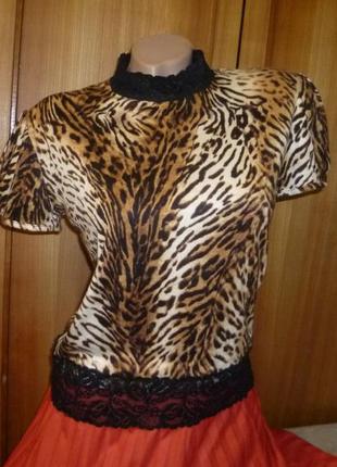 Красивая футболка с кружевом,трикотажная,тигровый принт,летняя,короткий рукав