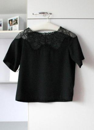 Красивая черная блуза с кружевом сверху от asos