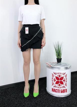 Джинсовая юбка высокая посадка zara