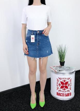 Джинсовая юбка винтаж высокая посадка bershka