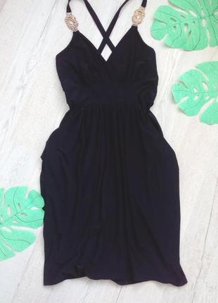 Платье вечернее черное с открытой спиной на бретельках quiz  38 / m / 46