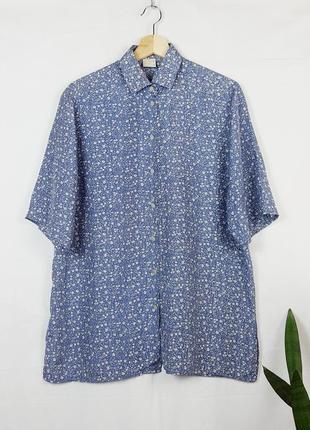 Винтажная шелковая рубашка с коротким рукавом в цветочный принт винтажная блуза