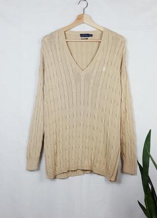 Бежевая кофта в косичку polo ralph lauren легкий свитер в косичку