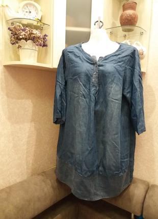 Стильное джинсовое платье туника