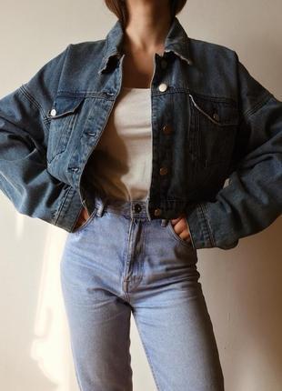 Крафтовая джинсовая куртка укороченная из штатов recycled denim оверсайз