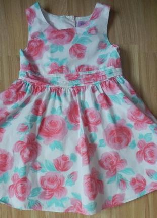 Фирменное нарядное платье f&f малышке 4-5 лет состояние нового