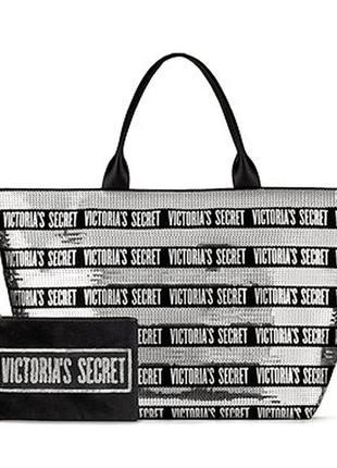 Сумка на молнии + косметичка от victoria's secret - оригинал