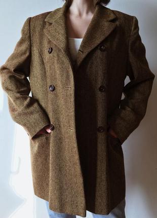 Стильный двубортный пиджак жакет пальто винтаж шерстяной
