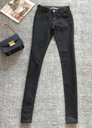 Черные джинсы скинни классическая посадка#плотный деним#размер xxs -xs