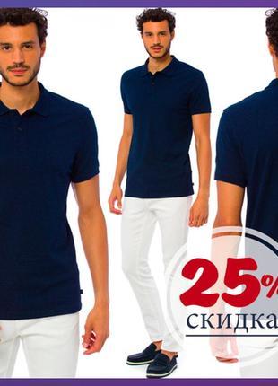 Мужское поло синее lc waikiki / лс вайкики с синим отложным воротником