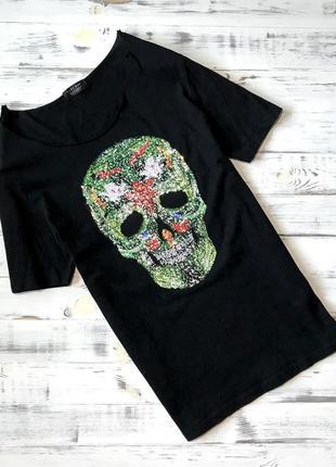 Крутая мужская чёрная футболка с аппликацией zara man