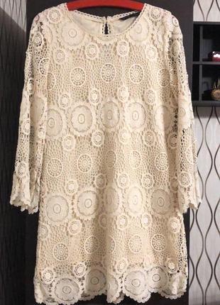 Трендовое вязаное бежевое платье zara, новое!
